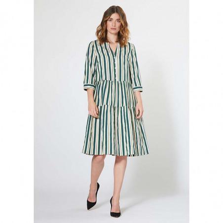 PBO Kjole, Kalotto Dress, Green Stripe PBO tøj til kvinder Stribet Kjole look