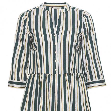 PBO Kjole, Kalotto Dress, Green Stripe PBO tøj til kvinder Stribet Kjole detalje