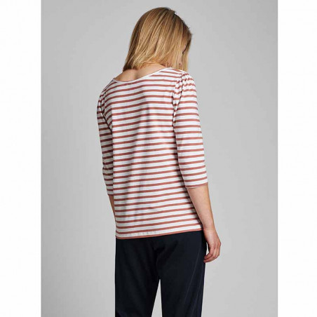 Nümph T-shirt, Nudaia, Ash Rose Numph stribet t-shirt numph bluse på model set bagfra