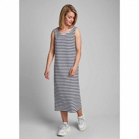 Nümph Kjole, Nudaia, Dark Sapphire Numph jersey kjole med striber  Kjole i økologisk bomuld på model look