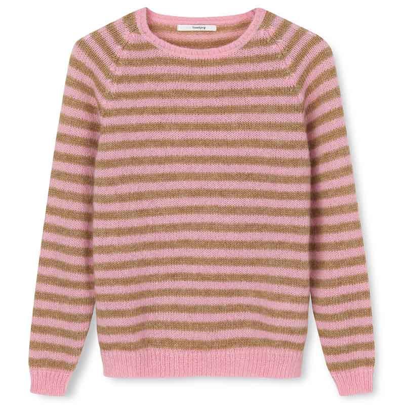 Sibin Linnebjerg Strik, Fabienne, Flamingo-Camel stribet SibinLinnebjerg sweater