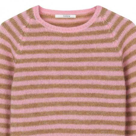 Sibin Linnebjerg Strik, Fabienne, Flamingo-Camel stribet SibinLinnebjerg sweater detalje
