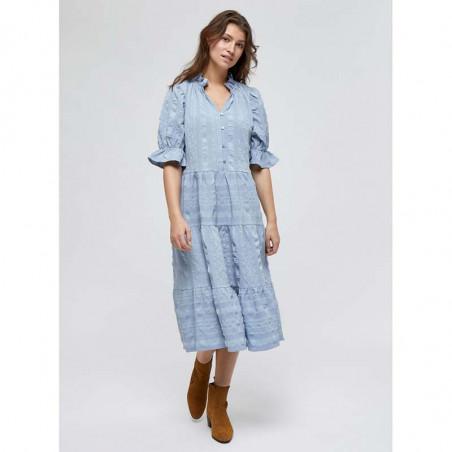 Minus Kjole, Bergitta, Dark Powder Blue  Minus fashion - Minus kjole på model