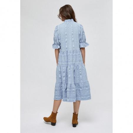 Minus Kjole, Bergitta, Dark Powder Blue  Minus fashion - Minus kjole på model set bagfra