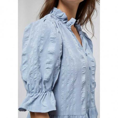 Minus Kjole, Bergitta, Dark Powder Blue  Minus fashion - Minus kjole på model detalje