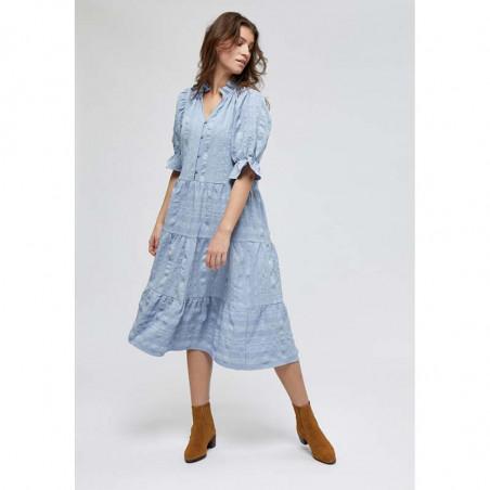 Minus Kjole, Bergitta, Dark Powder Blue  Minus fashion - Minus kjole på model look