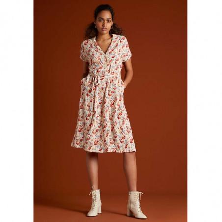 King Louie Kjole, Darcy Sonny, Cream, sommerkjole, kjole med print, skjortekjole, hverdags kjole, kjole til hverdag - Model