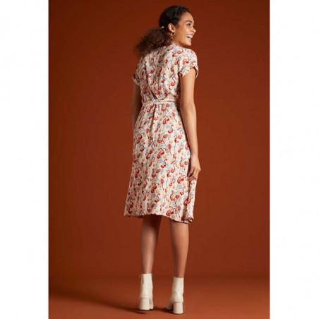 King Louie Kjole, Darcy Sonny, Cream, sommerkjole, kjole med print, skjortekjole, hverdags kjole, kjole til hverdag - Bagside