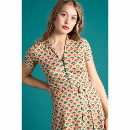 King Louie Kjole, Emmy Carmel, Pearly Dew, sommerkjoler, kjoler med print, kjoler i jersey, jerseykjoler - Tæt på