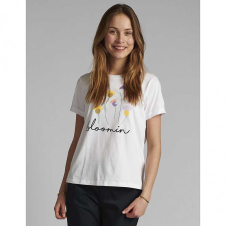 Nümph T-shirt, Nucizzy Bloomin, Bright White Numph t-shrt med print på model