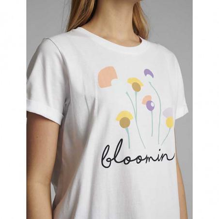 Nümph T-shirt, Nucizzy Bloomin, Bright White Numph t-shrt med print detalje