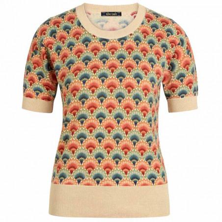 King Louie Bluse, Gigi Carmel, Ivory, strikket top, top med print, bluse med print