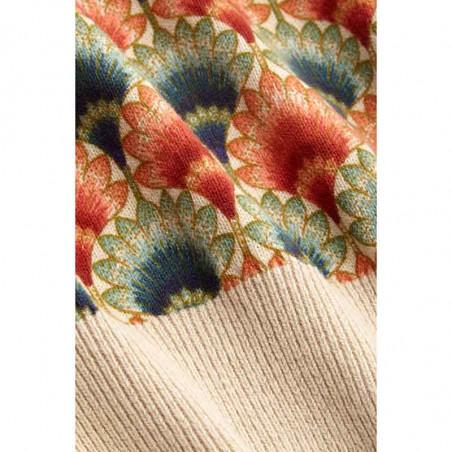 King Louie Bluse, Gigi Carmel, Ivory, strikket top, top med print, bluse med print - Print