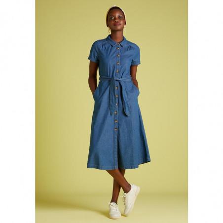King Louie Kjole, Olive, River Blue, Lang kjole, Denim kjole - Front