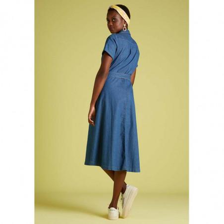 King Louie Kjole, Olive, River Blue, Lang kjole, lang kjole til fest, denim - bagside