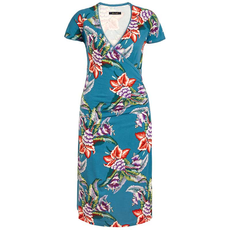 King Louie Kjole, Topanga Cross, Storm Blue KingLouie Cross dress  Blomsterprint