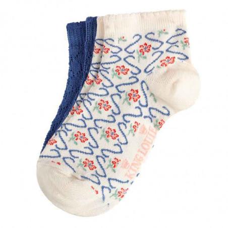 King Louie Strømper, Twister Short 2-pack, Cream Kinglouie ankel sokker - footies