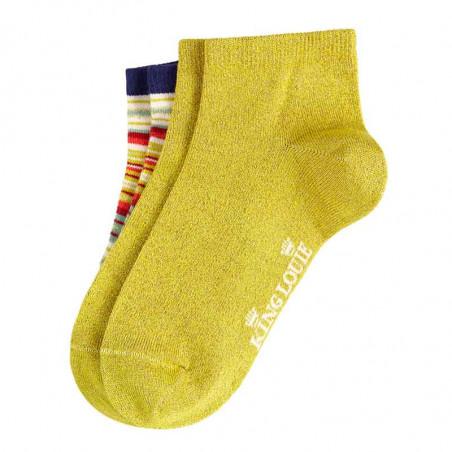 King Louie Strømper, Chino Short 2-pack, Spring Yellow gul og multistribed ankelsokker