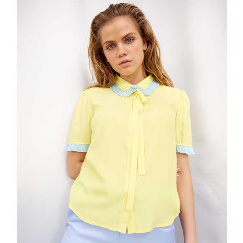 Hunkøn Skjorte, Rosita, Light Yellow, skjorter til kvinder, kortærmet skjorte