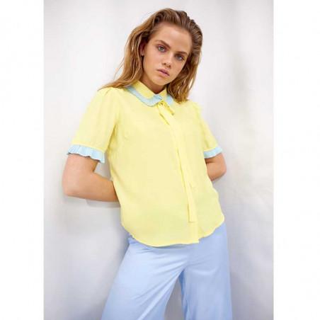 Hunkøn Skjorte, Rosita, Light Yellow, skjorter til kvinder, kortærmet skjorte - Model