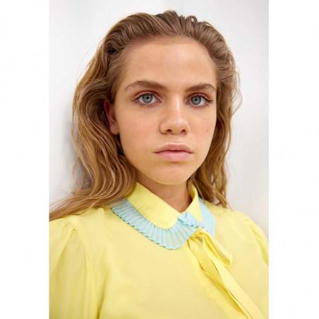 Hunkøn Skjorte, Rosita, Light Yellow, skjorter til kvinder, kortærmet skjorte - tæt på