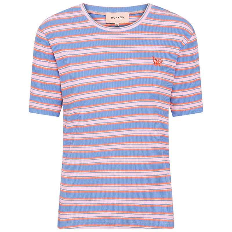 Hunkøn T-shirt, Felipa, Blue Striped, Kortærmet T-shirt, Stribet T-shirt
