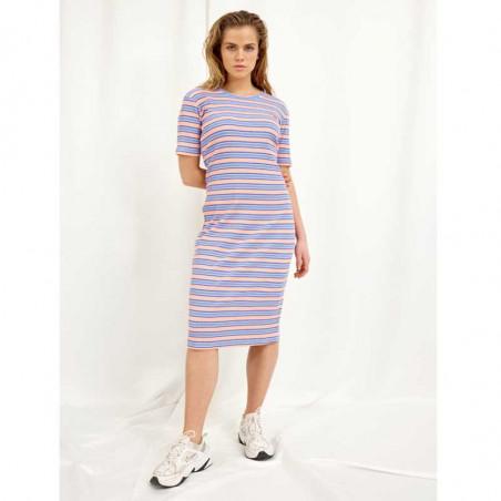 Hunkøn Kjole, Felipa, Blue Striped, sommerkjole, hverdagskjoler, stribet kjoler - Front