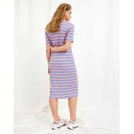 Hunkøn Kjole, Felipa, Blue Striped, sommerkjole, hverdagskjoler, stribet kjoler - Bagside