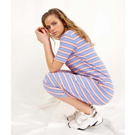 Hunkøn Kjole, Felipa, Blue Striped, sommerkjole, hverdagskjoler, stribet kjoler - Model