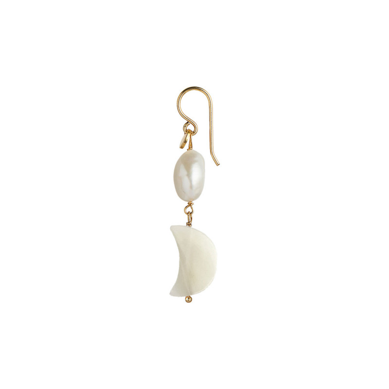 Stine A Ørering, Midnight Moon, Guld StineA Midnight Moon and Baroque Pearl Earring Gold