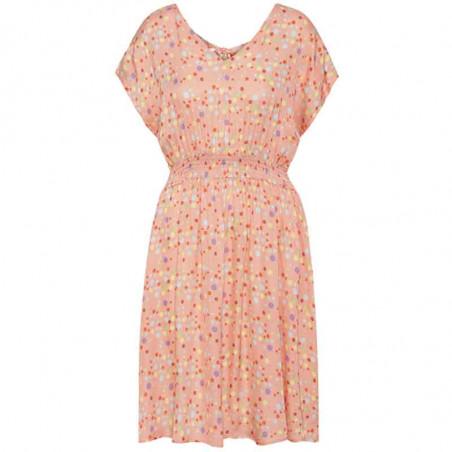 Hunkøn Kjole, Louisa, Peach W/Dot, sommerkjoler, kjoler med print, kjoler til fest, kjole til hverdag, hverdagskjole