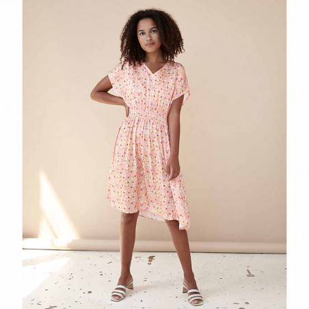 Hunkøn Kjole, Louisa, Peach W/Dot, sommerkjoler, kjoler med print, kjoler til fest, kjole til hverdag, hverdagskjole - Front