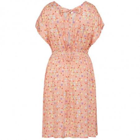 Hunkøn Kjole, Louisa, Peach W/Dot, sommerkjoler, kjoler med print, kjoler til fest, kjole til hverdag, hverdagskjole - Bagside