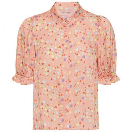 Hunkøn Skjorte, Louisa, Peach W/Dot, skjorter med korte ærmer