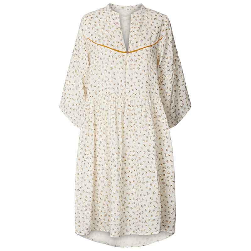 Lollys Laundry Kjole, Feline, Creme, sommerkjole, kjole i bomuld