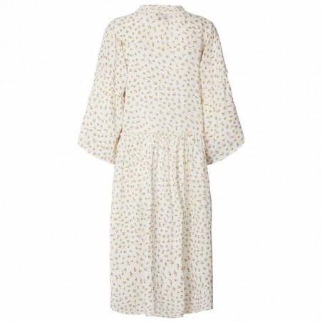 Lollys Laundry Kjole, Feline, Creme, sommerkjole, kjole i bomuld  - Bagside