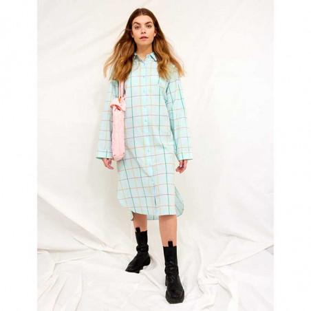 Hunkøn Kjole, Nita Shirtdress, Turquoise Checked Hunkøn skjortekjole på model