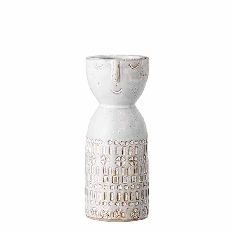 Bloomingville Vase, Stentøj m/ansigt, Hvid