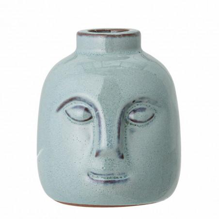 Bloomingville Lysestage, Eliot, Grøn Stentøj, Vase med ansigt