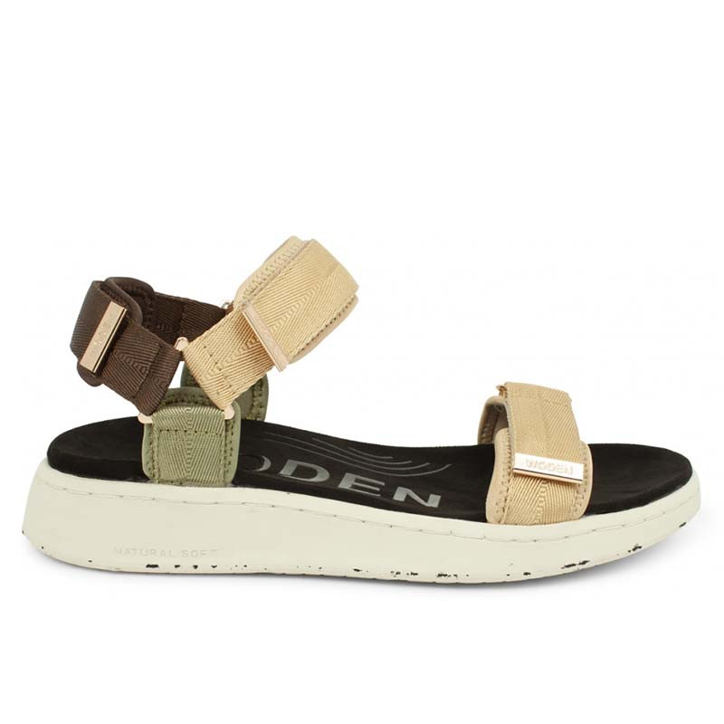 Woden Sandaler, Line, Multi, sandaler til kvinder, komfort sandaler med velcro