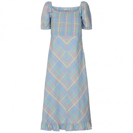 Nümph Kjole, Nuchecky, Vista Blue, numph kjole, numph tøj, sommerkjoler, festkjoler, hverdagskjoler