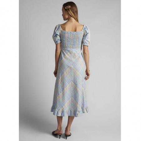 Nümph Kjole, Nuchecky, Vista Blue, numph kjole, numph tøj, sommerkjoler, festkjoler, hverdagskjoler - Bagfra