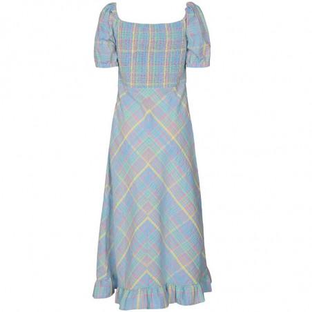 Nümph Kjole, Nuchecky, Vista Blue, numph kjole, numph tøj, sommerkjoler, festkjoler, hverdagskjoler - Bagside