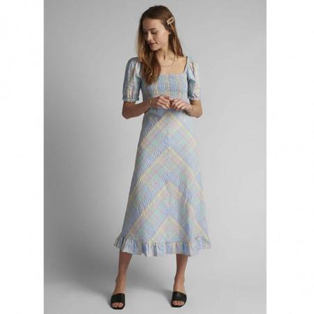 Nümph Kjole, Nuchecky, Vista Blue, numph kjole, numph tøj, sommerkjoler, festkjoler, hverdagskjoler - Front