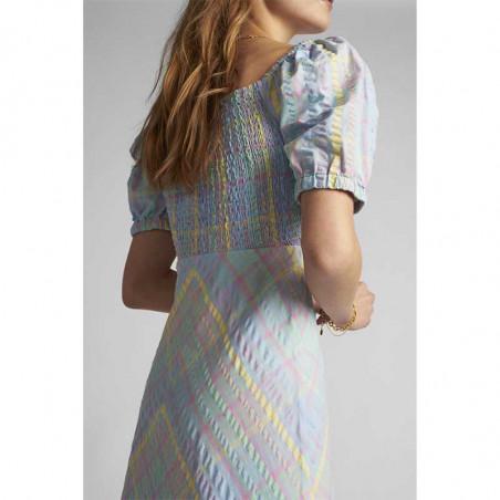 Nümph Kjole, Nuchecky, Vista Blue, numph kjole, numph tøj, sommerkjoler, festkjoler, hverdagskjoler - smocksyning