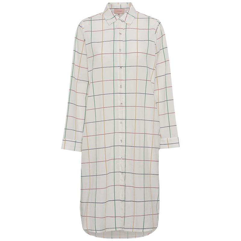 Hunkøn Kjole, Nita Shirtdress, White Checked Hunkøn skjortekjole