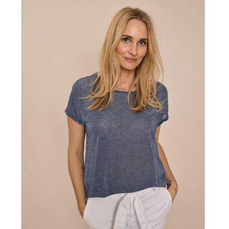 Mos Mosh T-shirt, Kay, Vintage Indigo - sommertop - t shirt