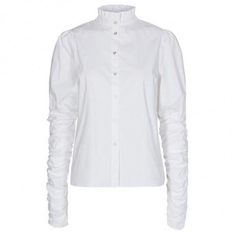 Co'Couture Skjorte, Sandy Poplin Puff, White, Hvid skjorte