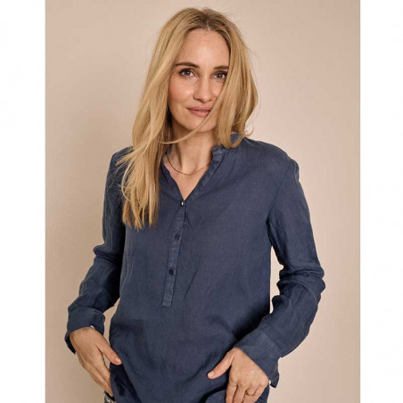 Mos Mosh Bluse, Danna Linen, Vintage Indigo, langærmet skjorte