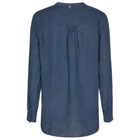 Mos Mosh Bluse, Danna Linen, Vintage Indigo, langærmet skjorte - skjorte i hør